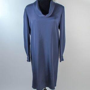 Vintage Silk Long Sleeved Cowl Midi Shift Dress 4